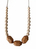 Chewable Charm Teething Necklace- Austin Cream