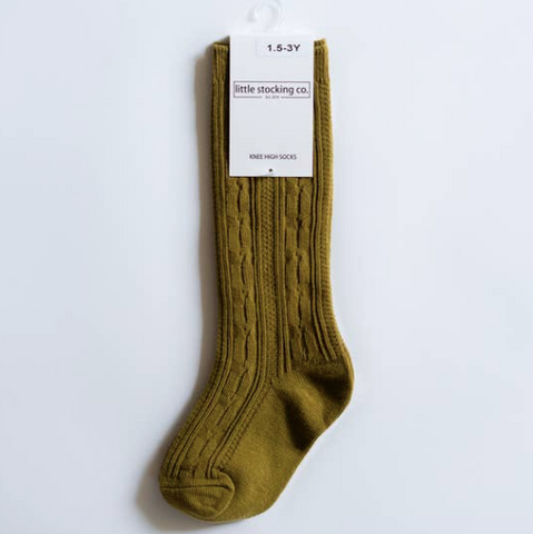 Bright Olive Knee High Socks