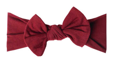 Copper Pearl Knit Headband Bow - Ruby