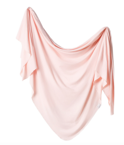 Copper Pearl Knit Swaddle Blanket- Blush