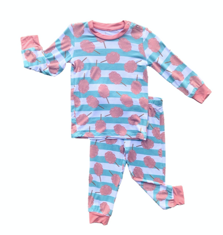 Long Sleeve Pajama Set- Cotton Candy Stripe