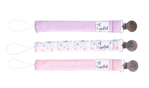 3 Pack Pacifier Clips- Bloom