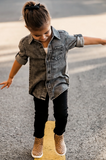 Kid's Denim Shirt- Black Acid Wash