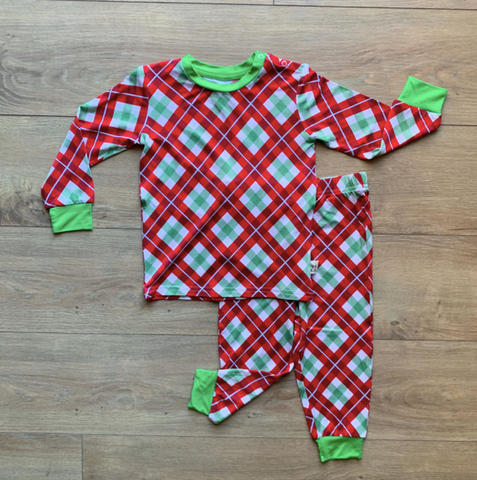 Holiday Long Sleeve Two Piece Pajama Set- Holly Plaid