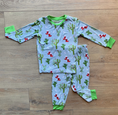 Holiday Long Sleeve Two Piece Pajama Set- Christmas Cactus