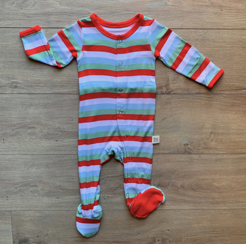Holiday Footie with Snaps- Holly Stripe