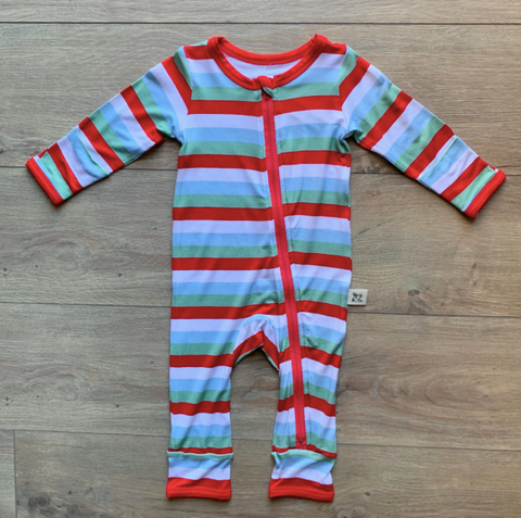Holiday Zipper Coverall- Holly Stripe