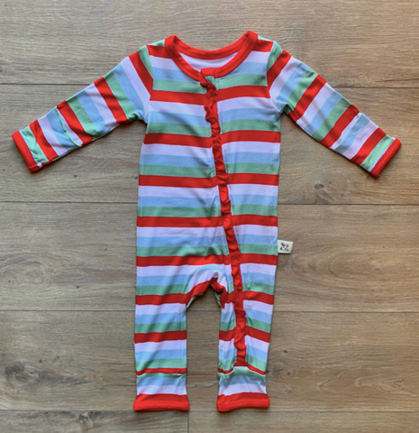 Holiday Zipper Coverall with Ruffle - Holly Stripe