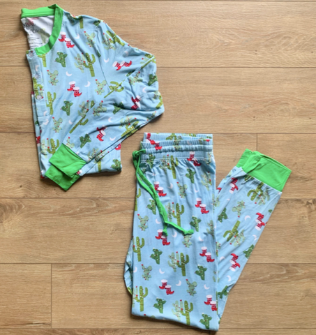 Men's Holiday Two Piece Pajama Set- Christmas Cactus