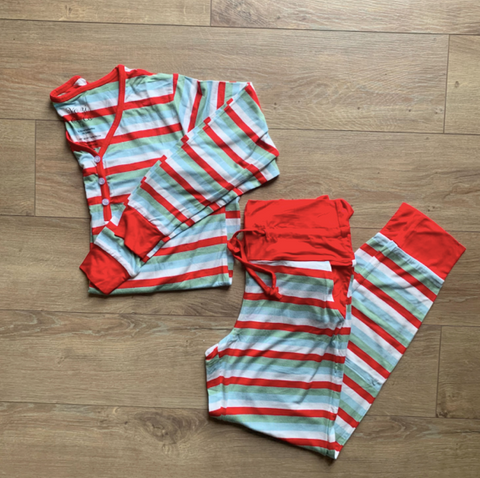 Women's Holiday Two Piece Pajama Set- Holly Stripe