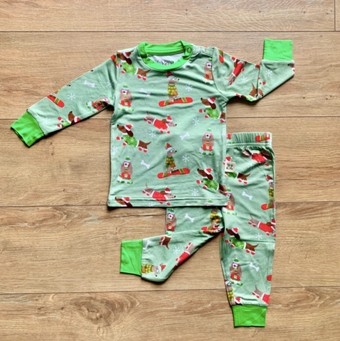 Holiday Long Sleeve Two Piece Pajama Set- Snow Pups