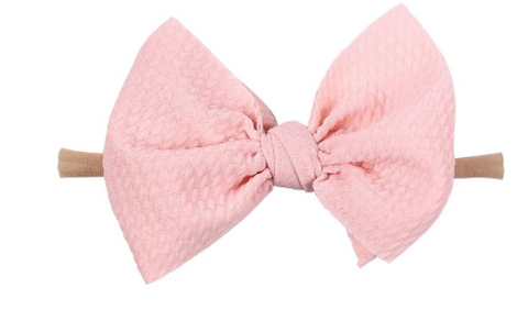 Nylon Messy Bow- Baby PInk