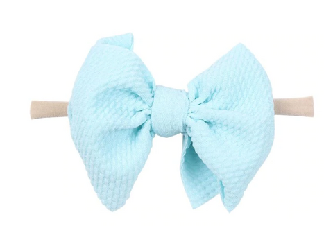 Nylon Messy Bow- Sky Blue