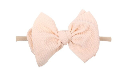 Nylon Messy Bow- Cream