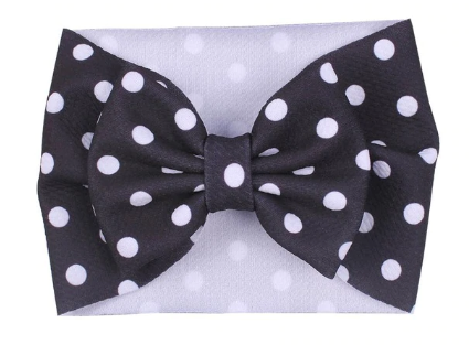 The Perfect Bow Headwrap - Black Polka Dot-DISCONTINUED STYLE