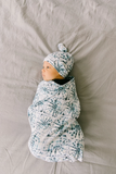 Copper Pearl Knit Swaddle Blanket- Indigo