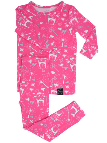 Two Piece Pajama Set in Pink Castle