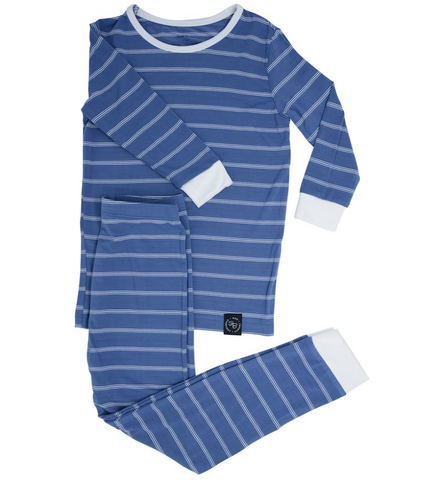 Two Piece Pajama Set in Blue Pinstripe