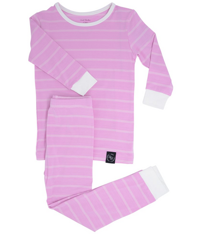 Two Piece Pajama Set in Pink Stripes
