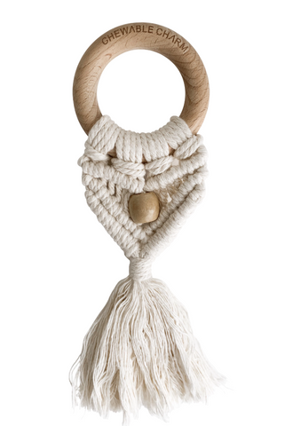 Celeste Macrame Teether + Bead- Cream