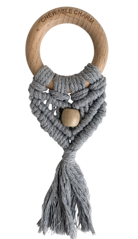 Celeste Macrame Teether + Bead- Grey