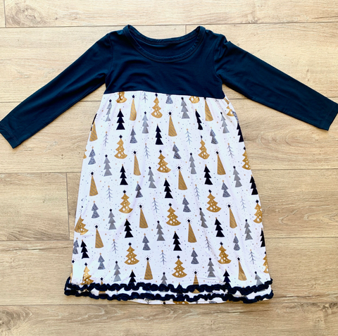Long Sleeve Winter Dress- Silver and Gold Trees