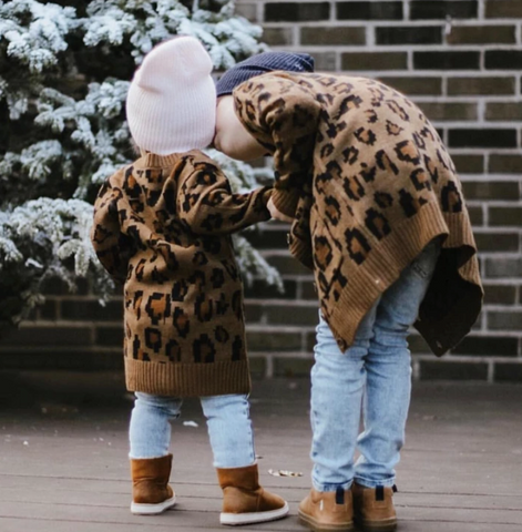 Beau Hudson Chunky Knit Leopard Cardigan- Child