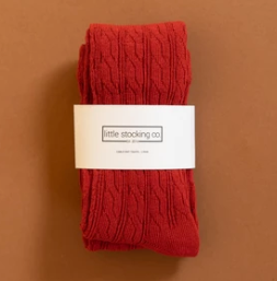 Spice Red Cable Knit Tights