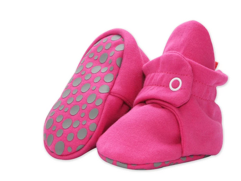 Zutano Cotton Gripper Bootie in Solid Fuschia