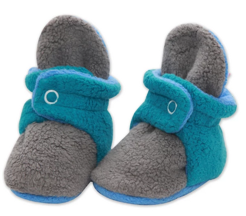 Zutano Cozie Fleece Color Block Bootie - Gray/Pagoda/Periwinkle Color Block