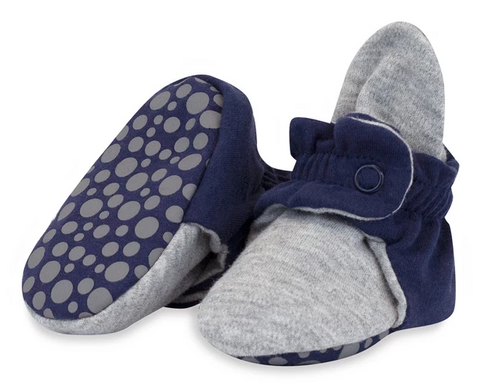Zutano Organic Cotton Gripper Bootie in Navy and Gray Colorblock
