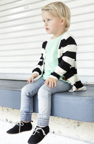 Beau Hudson Black and White Knit Stripe Cardigan- Kids