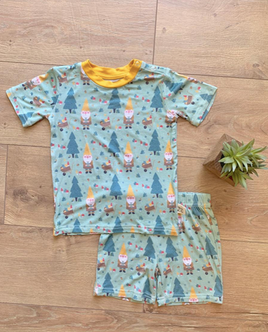 Two Piece Short Sleeve Pajama Set with Shorts- Garden Gnome