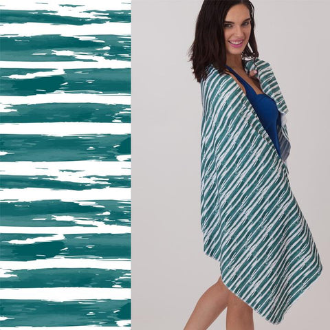 UPF 50+ Suncreen Towel- Full Size- Emerald Stripe