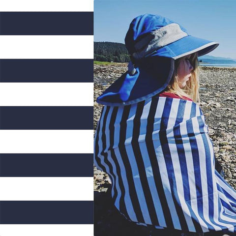 UPF 50 Hooded Sunscreen Towel- Navy Stripes