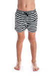 Beau Hudson Kid's Black and White Striped Swim Shorts