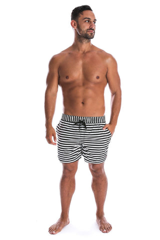 Beau Hudson Men's Black and White Striped Swim Shorts