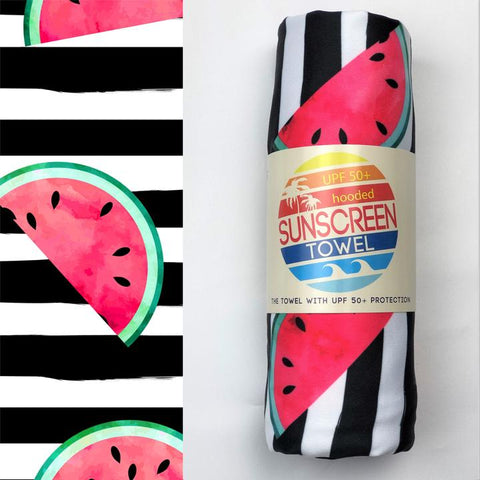UPF 50 Hooded Sunscreen Towel- Watermelon