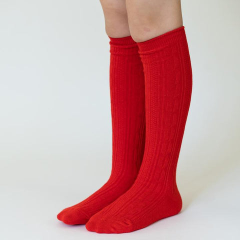 Bright Red Knee High Socks