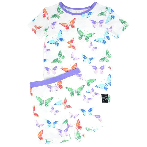 Short Sleeve with Shorts Pajama Set - Rainbow Butterflies