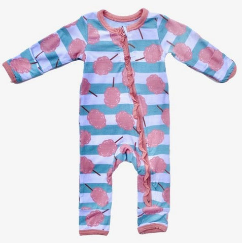 Zipper Coverall with Ruffle - Cotton Candy Stripe
