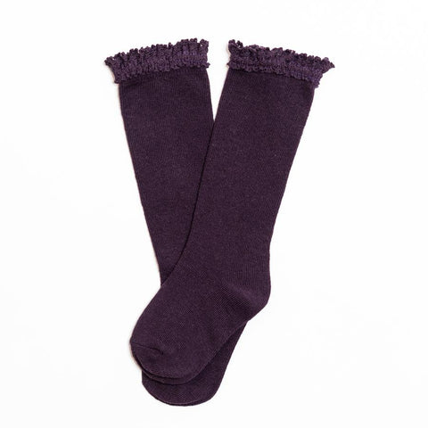 Eggplant Lace Top Knee Highs