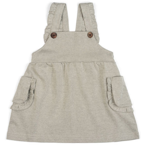 Organic Cotton Dress Overall- Grey Pinstripe