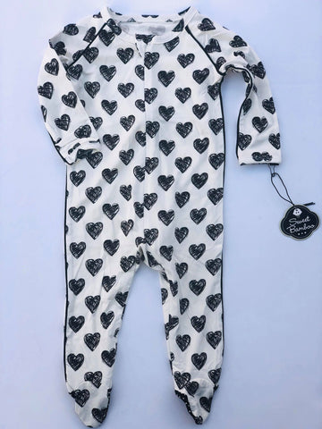 Piped Footie- Black and White Scribble Hearts