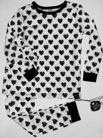 Two Piece Pajama Set in Black and White Scribble Hearts
