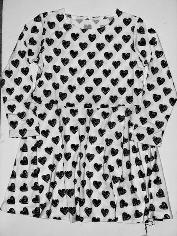 Swirly Girl Dress in Black and White Scribble Hearts