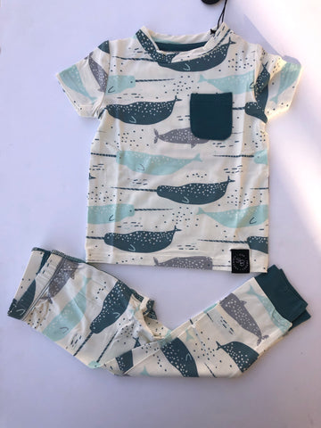 Short Sleeve Pajama Set with Pants- Blue Narwhal