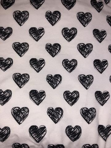 Receiving Blanket with Ruffle - Black and White Scribble Hearts