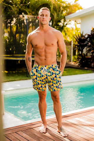 Beau Hudson Men's Swim Trunks- Lemon Spritz