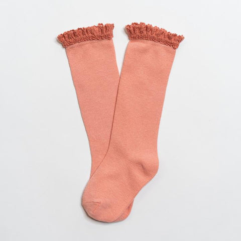 Peach Lace Top Knee Highs